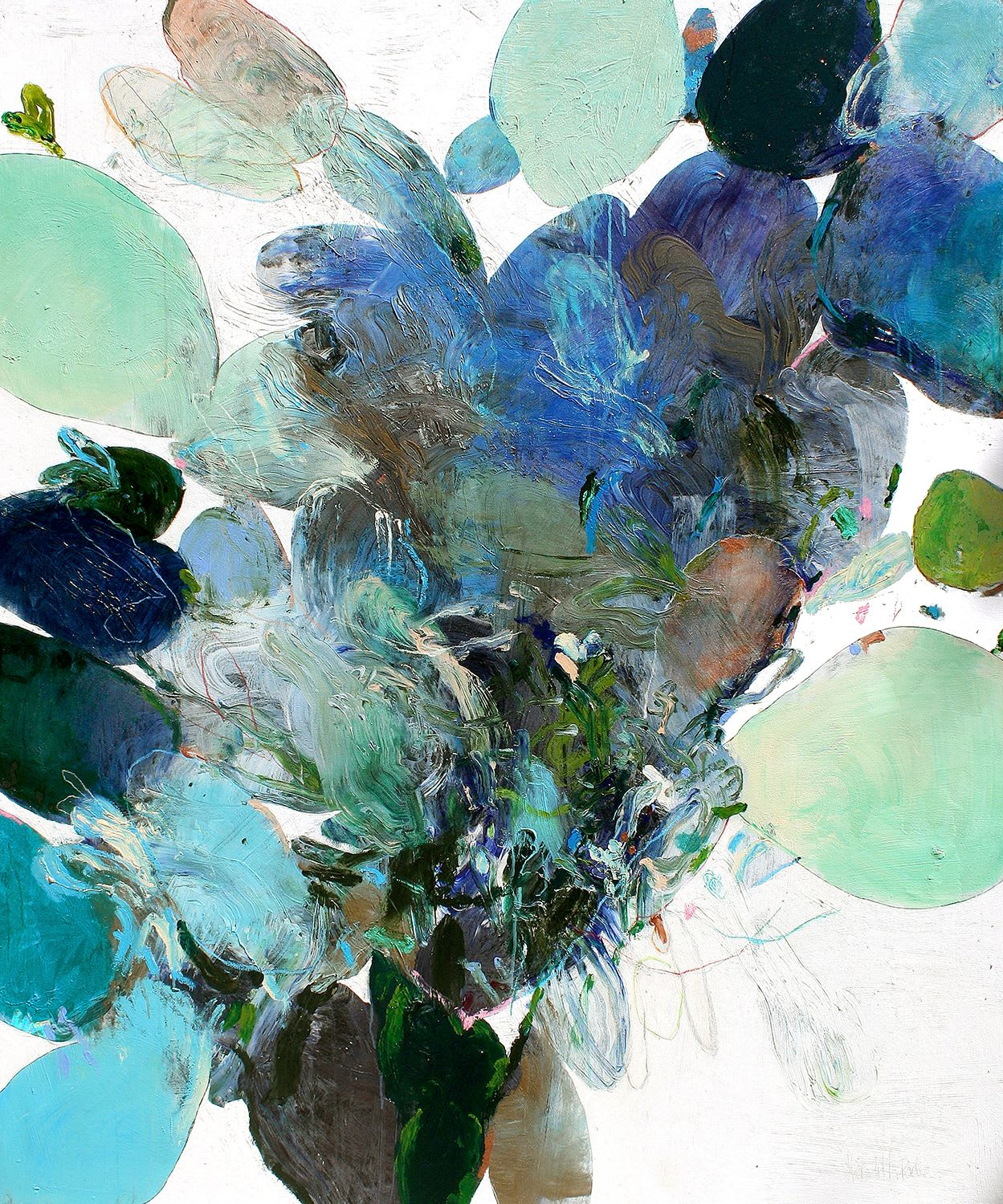 Abstract blues and greens painting