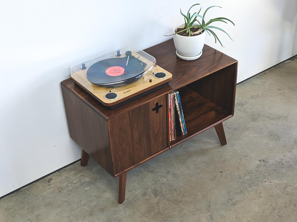 Record Player Stand Plus Record Cabinet Vinyl Storage By Max Moody Design Seen At Private Residence Chattanooga Wescover