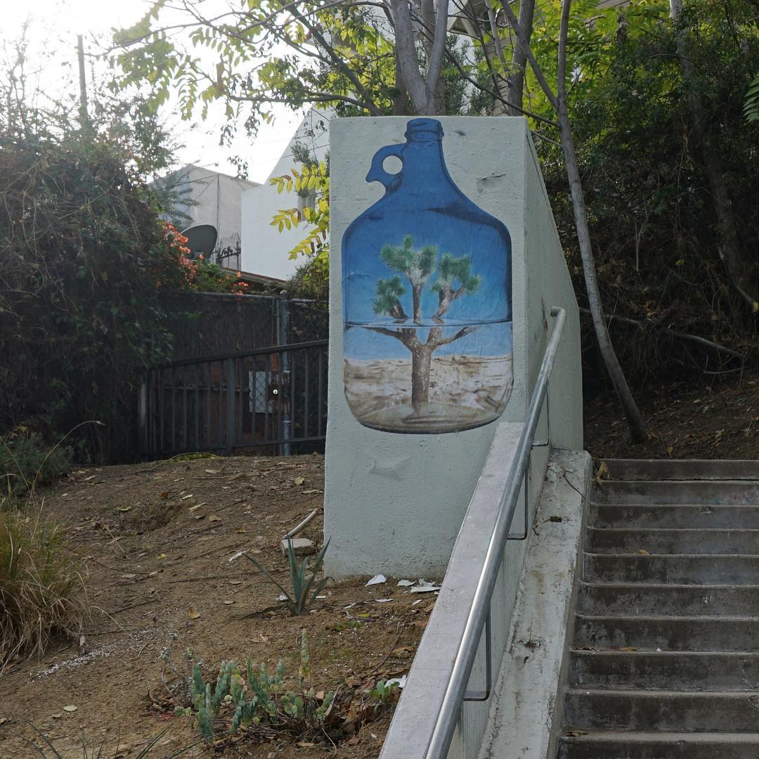 """Street Murals by No Touching Ground seen at Private Residence, Los Angeles - """"Staring at the desert through a half full jug of water"""""""