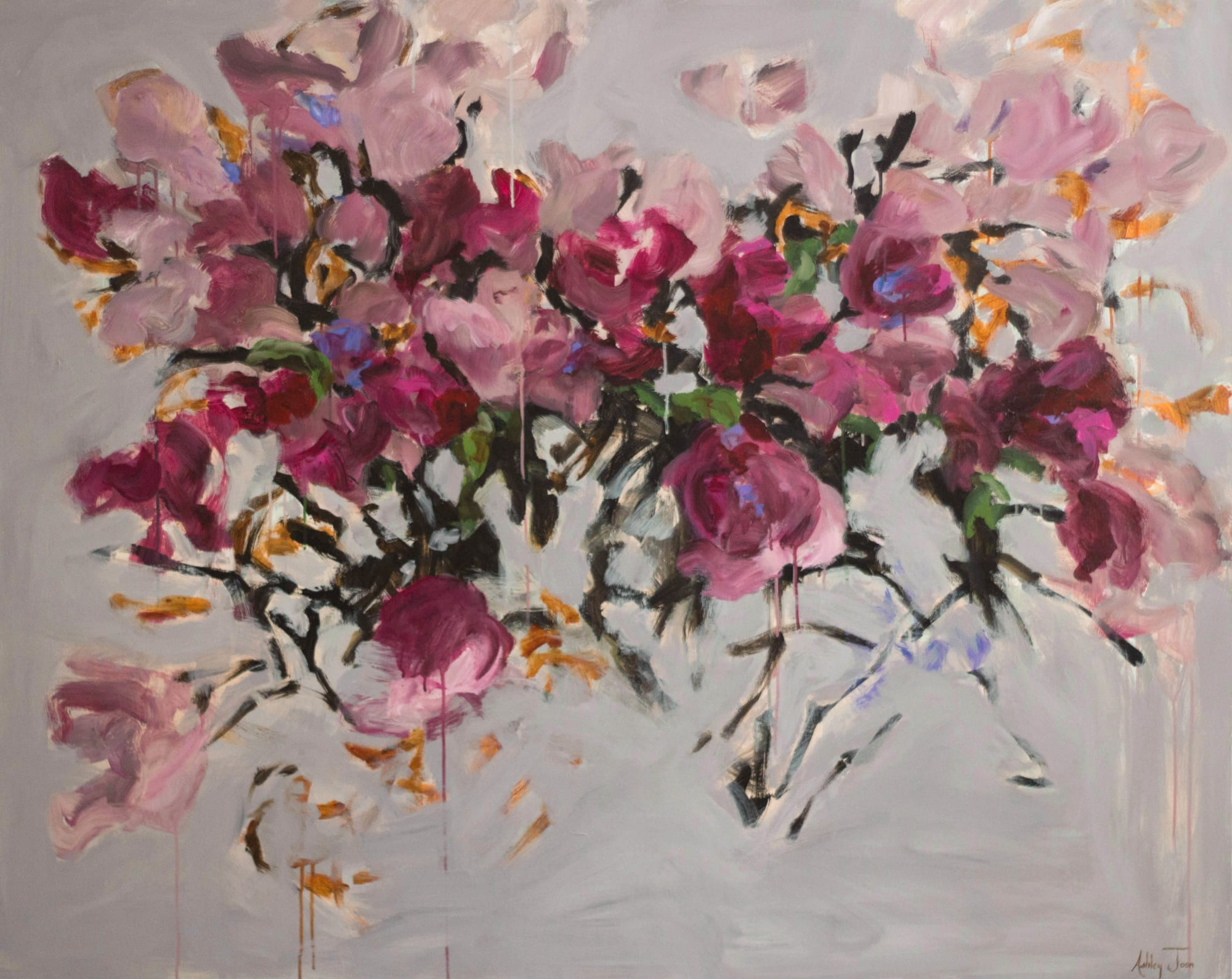 Pink and purple abstract flower painting