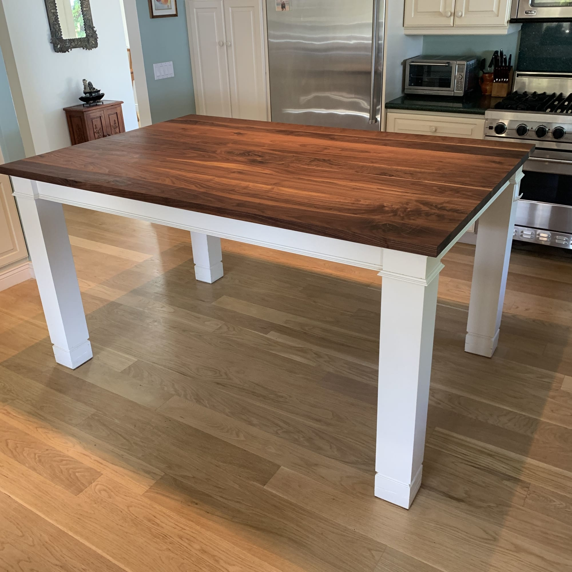 White and walnut kitchen table