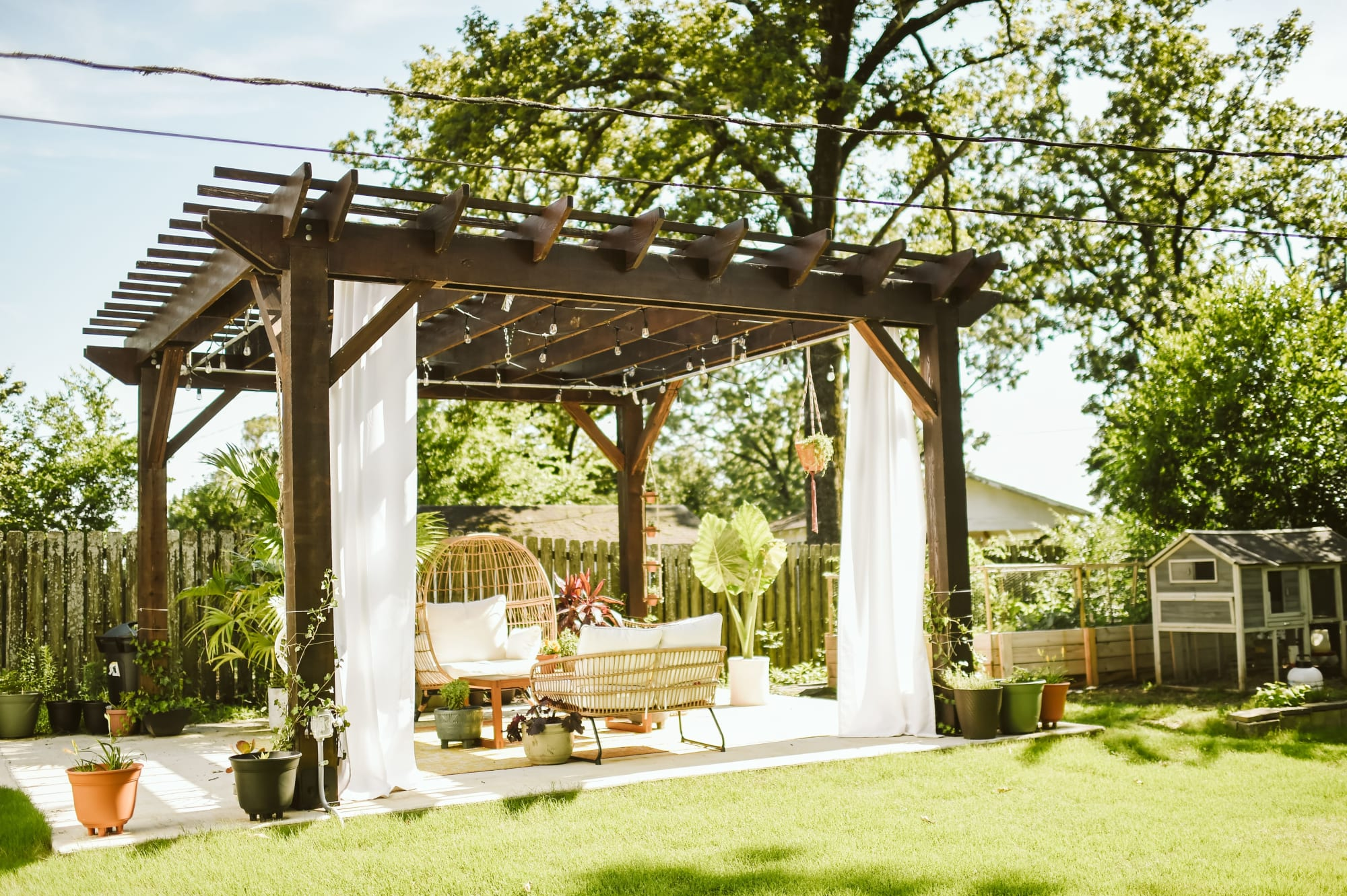 Dark Brown Backyard Pergola