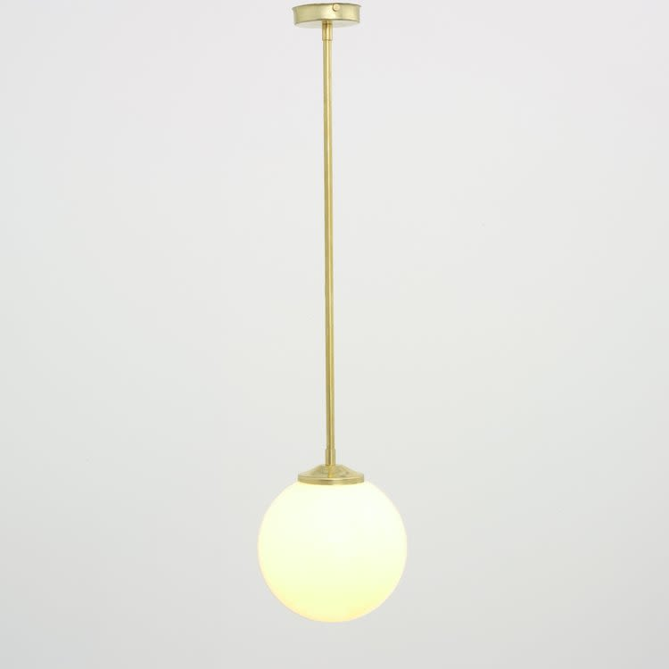 Pendants by Spark & Bell seen at Private Residence, London - Brass Pendant Light with Opal Glass Shade
