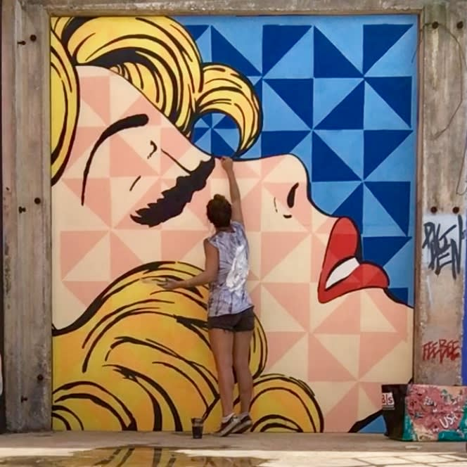 Pop art mural blonde woman