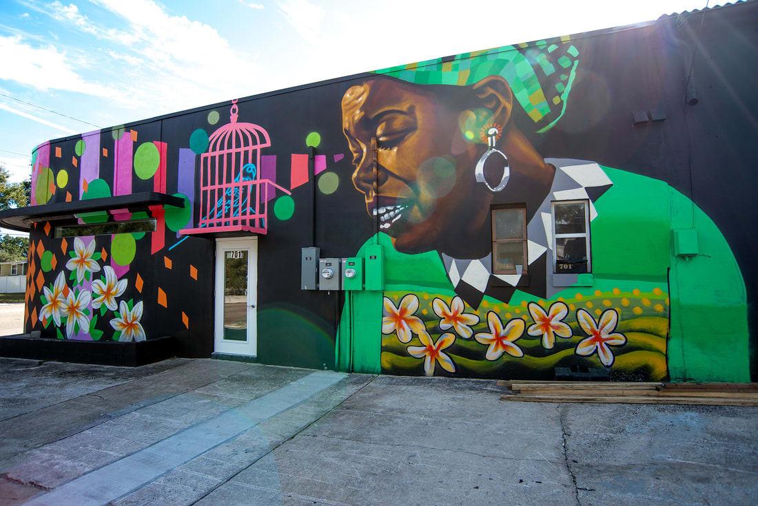 Street Murals by Zulu Painter seen at 701 9th St S, Saint Petersburg - Mindful Mural