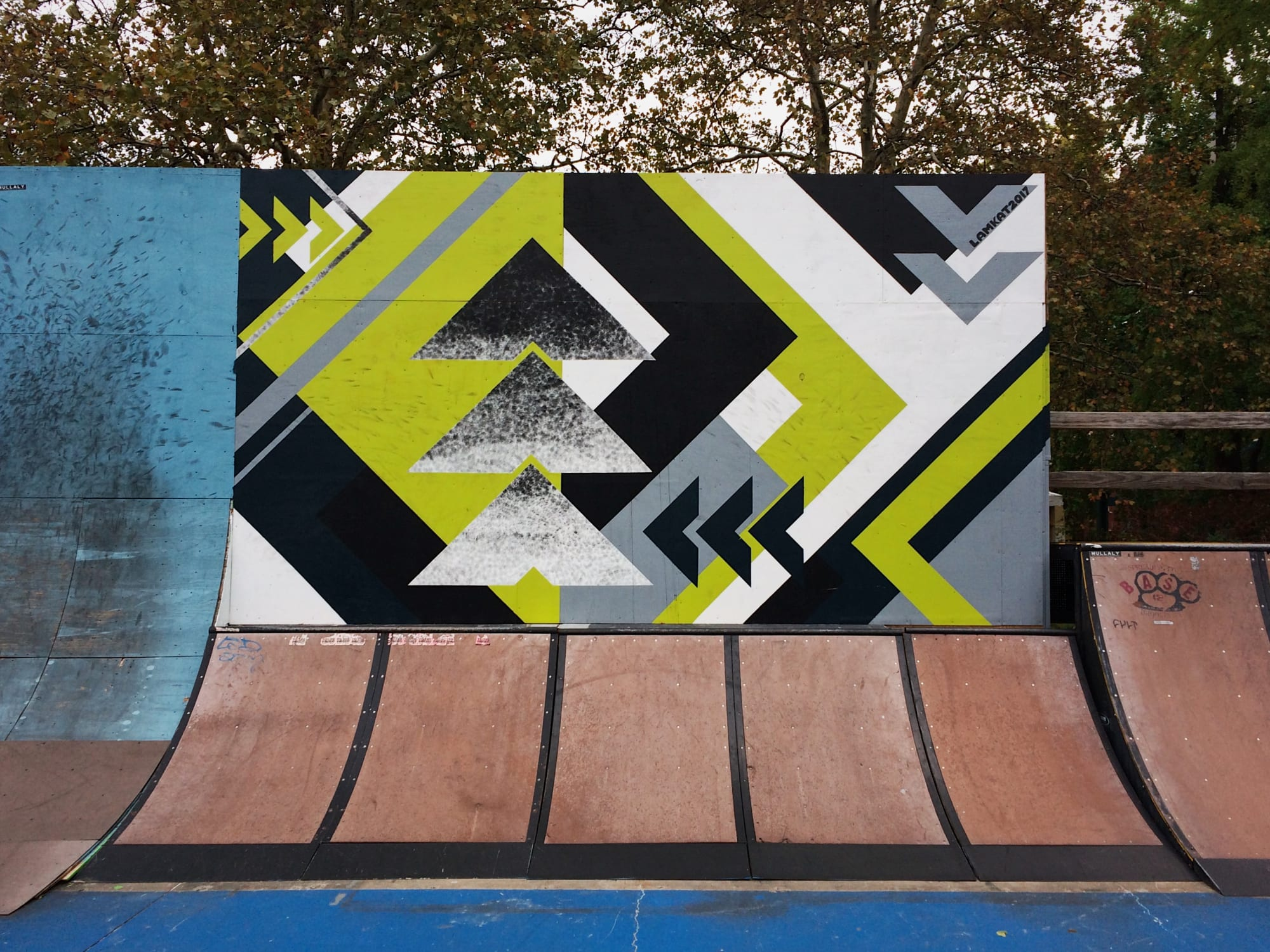 Mural by LAMKAT on display at Mullaly Skate Park. As seen on Wescover.