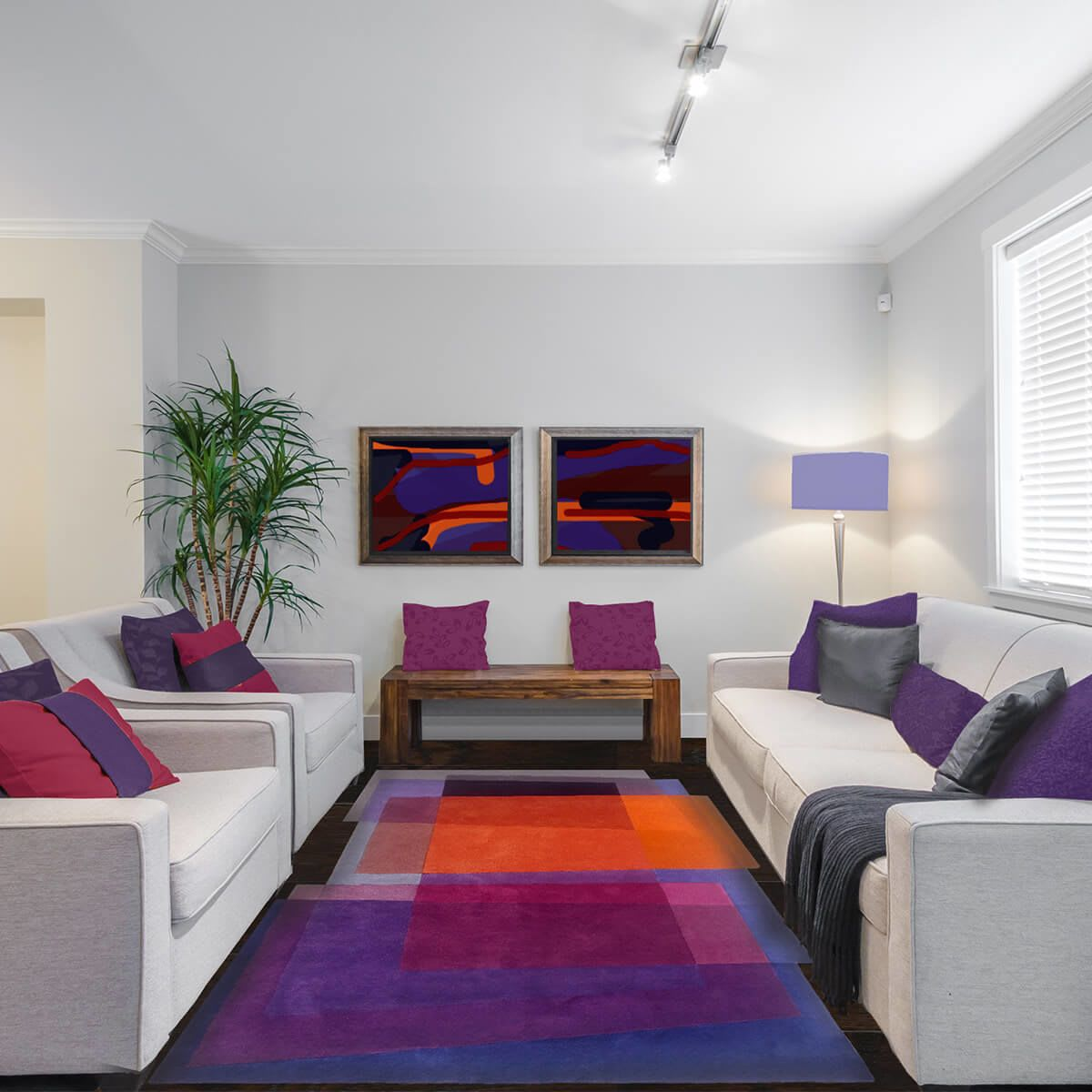 Vibrant Overlapping Rectangles Multicolor Rug