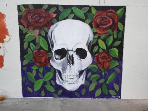 Murals by Alexandra Kube at Mercado Hollywood, Los Angeles - Mural Skull #1
