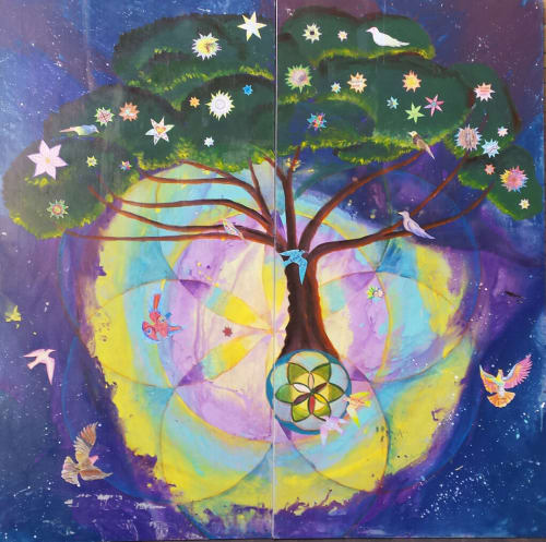 Paintings by Laurie Marshall seen at University of Texas Cultural Studies Department, Austin, Texas, Austin - The Pewen Singing Tree of Radical Love and Social Imagination