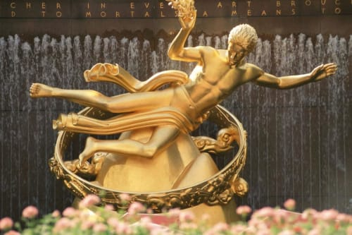 Work by Paul Manship seen at The Rink At Rockefeller Center, New York - Prometheus Sculpture