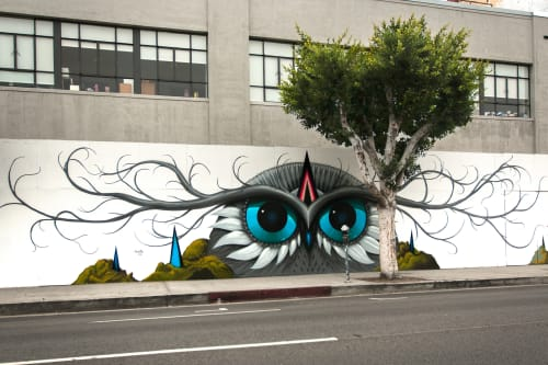 Street Murals by Jeff Soto seen at La Brea Avenue, Los Angeles - The LaBrea Owl