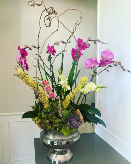 Floral Arrangements by Fleurina Designs seen at Private Residence, Los Gatos - Orchid and Succulent