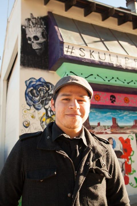 Murals by Brian Lopez Santos seen at Mercado Hollywood, Los Angeles - Skull Mural