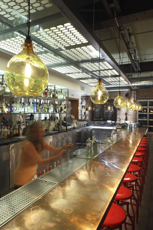 Tables by Studio Unltd at Bestia, Los Angeles - Raw-copper Bar Top