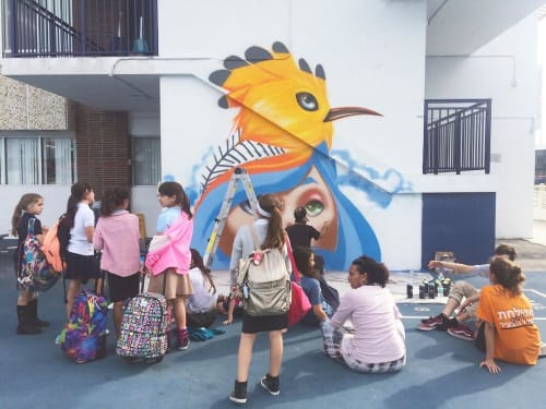 Murals by Yuhmi Collective seen at Hebrew Academy (RASG), Miami Beach - Mural