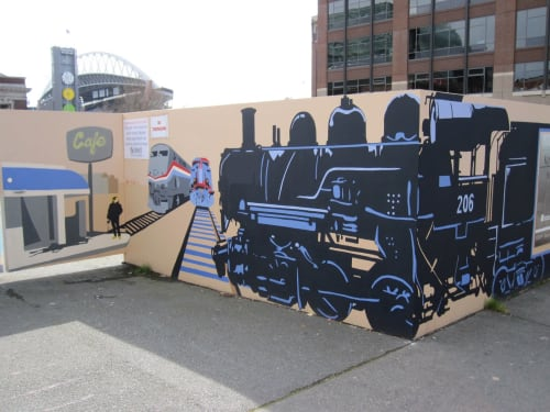 Murals by Todd K. Lown seen at King Street Station, Seattle - Mural