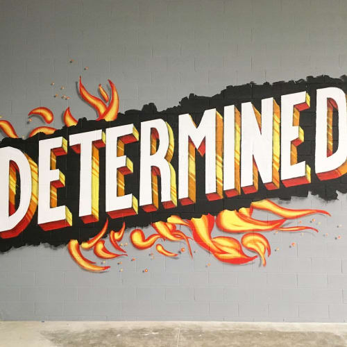 Murals by Tim Carmany seen at The Warehouse Training and Performance, North Canton - Mural lettering