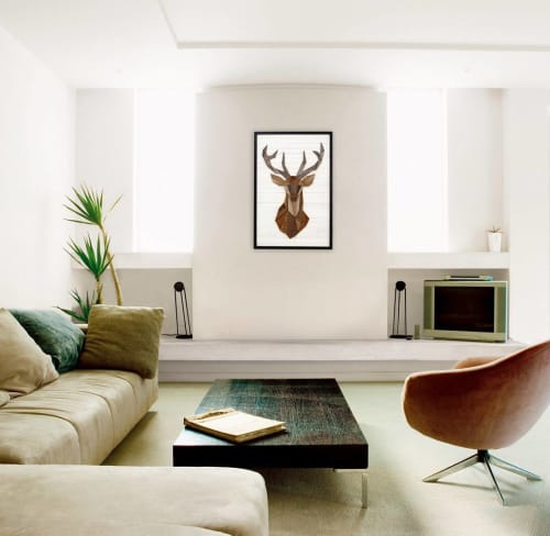 Wall Hangings by Craig Forget seen at Private Residence, Essex - Geometric Deer Wall Art