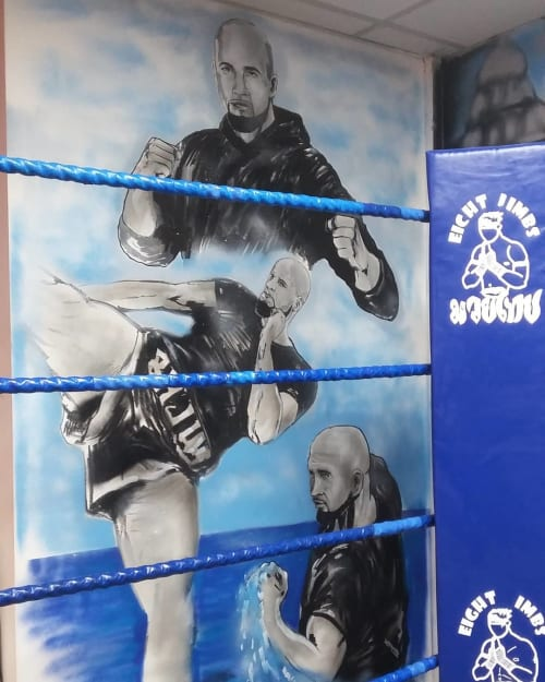 Murals by Dynamick seen at 8 Limbs Muay Thai Martial Arts Academy, Birmingham - Muay Thai Wall Murals