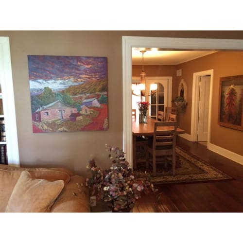 Paintings by Jennifer Cavan seen at Private Residence, Santa Fe - House on the Mountain Painting