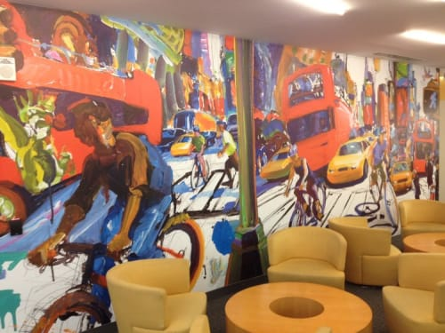 Murals by Tom Christopher seen at NYU Langone Medical Center, New York - I Like New York Because Everything Interesting Can Be Found There