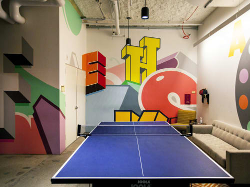 Murals by Greg Lamarche seen at Facebook, New York, Astor Place, New York - Game Room Mural
