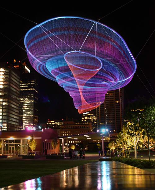 Public Sculptures by Janet Echelman seen at Civic Space Park, Phoenix, AZ, Phoenix - Her Secret is Patience