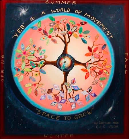 Paintings by Laurie Marshall seen at NASA Goddard Space Flight Center, Greenbelt - NASA's Space to Grow - The Gratitude Tree
