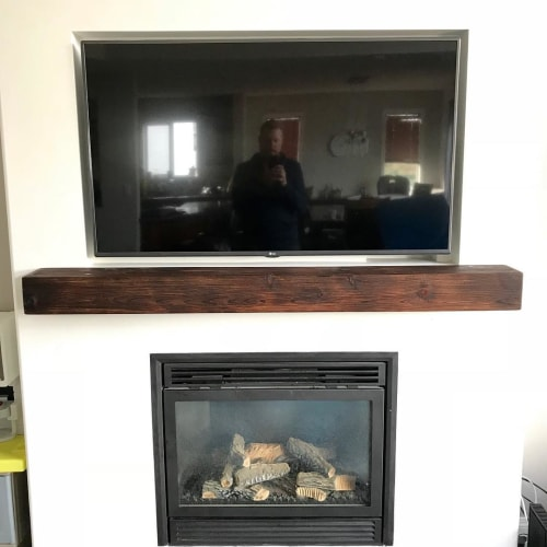 Furniture by Cask Woodworking seen at Private Residence, Edmonton - Wood Fireplace Mantle