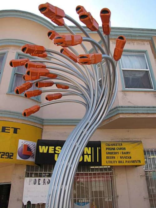 Public Sculptures by Rebar seen at Leland Avenue, San Francisco, San Francisco - Leland Avenue Streetscape Improvement Project
