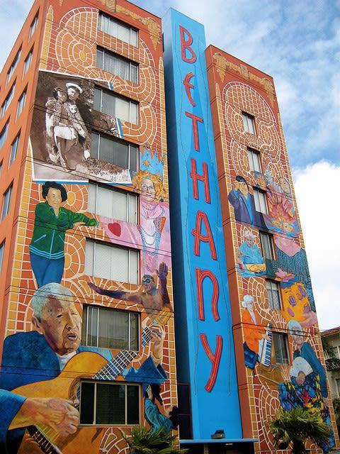 Murals by Dan Fontes seen at Bethany Center Senior Housing, San Francisco - Salud!