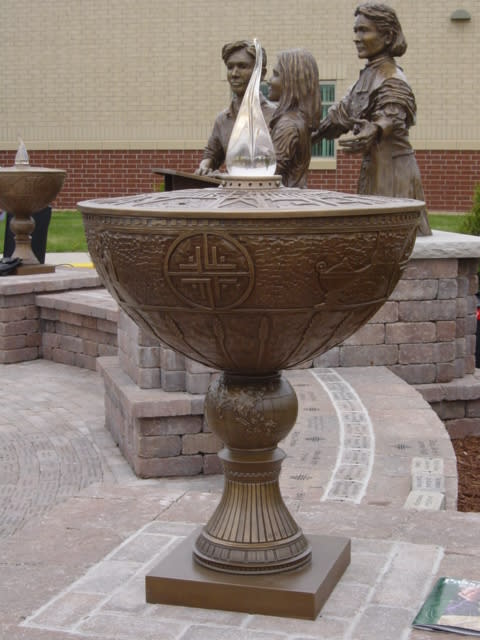 Sculptures by Steven Hemmingway seen at Holy Family Catholic High School, Victoria - Bronze Urn