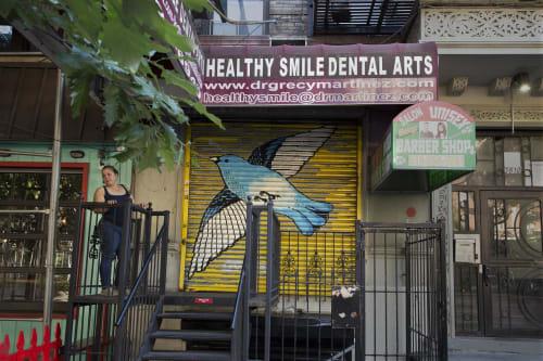 Street Murals by Nathan Catlin seen at 3610 Broadway, New York - Mountain Bluebird