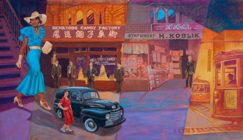Murals by Eduardo Pineda Storytelling Walls seen at Palmer's Tavern, San Francisco - Society