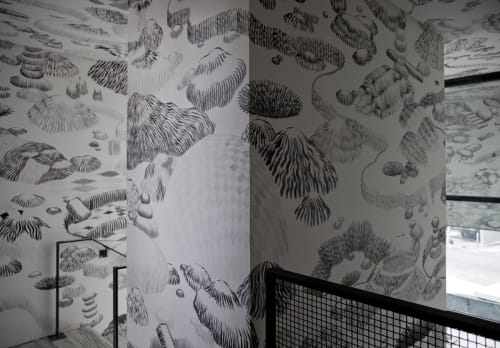 Murals by Alvaro Ilizarbe seen at 1 Hotel Brooklyn Bridge, Brooklyn - Stairwell Mural