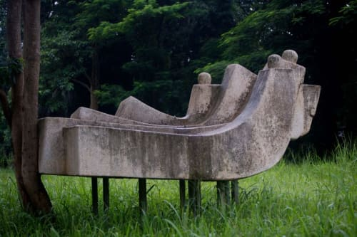 Sculptures by El Anatsui seen at University of Nigeria, Nsukka, Department of Physical Sciences, Nsukka - Upliftment of Man, 1983