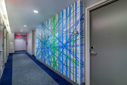 Murals by Carl Yoshihara seen at Courtyard by Marriott New York Downtown Manhattan/World Trade Center Area, New York - Cascade - Line Series (Corridors)