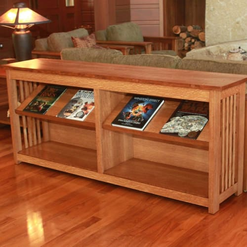 Tables by The Butler Did It seen at Private Residence, Bremerton - Quartersawn White Oak Sofa Table