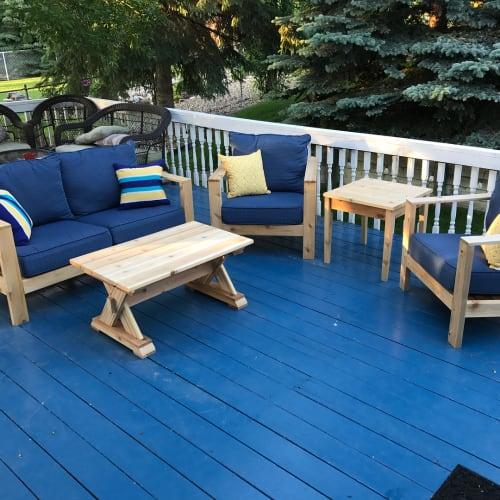 Furniture by Cask Woodworking seen at Private Residence, Sherwood Park - Cedar Patio Furniture Set