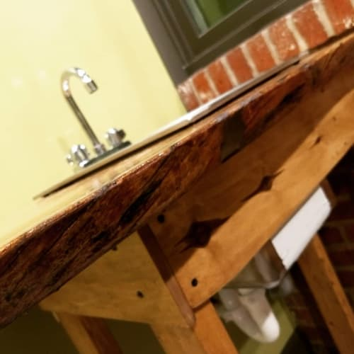 Furniture by Hurricane Woodwork seen at Trolley Car Cafe, Philadelphia - Wooden Espresso Bar