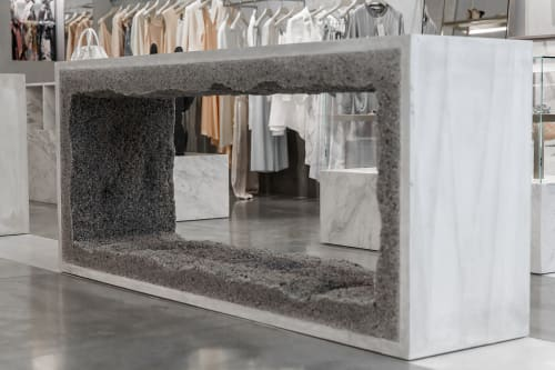 Sculptures by Fernando Mastrangelo seen at Stella McCartney, Palo Alto - Console Gey Rock Salt Sculpture and Concrete Sofa