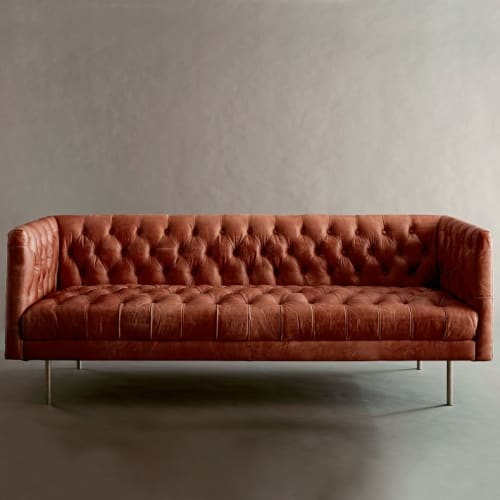 Modern Chesterfield Leather Sofa By West Elm Seen At The