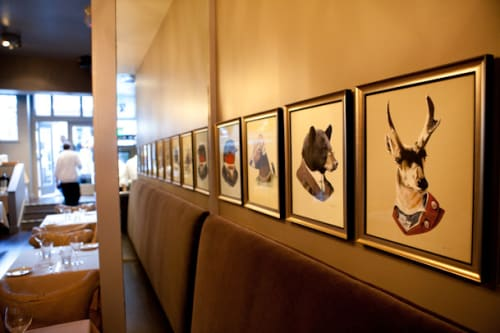 Paintings by Ryan Berkley seen at Fable, San Francisco - Animal Illustrations (in Edwardian garb)
