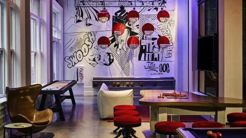 Murals by Color Cartel seen at Hotel Zeppelin, San Francisco - Mural Of Wall Space