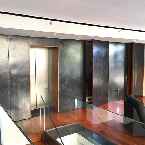 Wall Treatments by Stefan Rurak Studio seen at Sway Lounge, New York - Blackened Steel Wall Panels