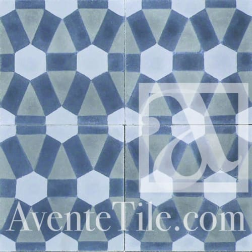 Tiles by Avente Tile seen at The Coronet, Tucson - Geometric Diamond Cement Tiles