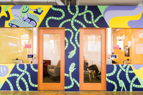 Murals by Edward Ubiera seen at Facebook, New York, Astor Place, New York - Future City