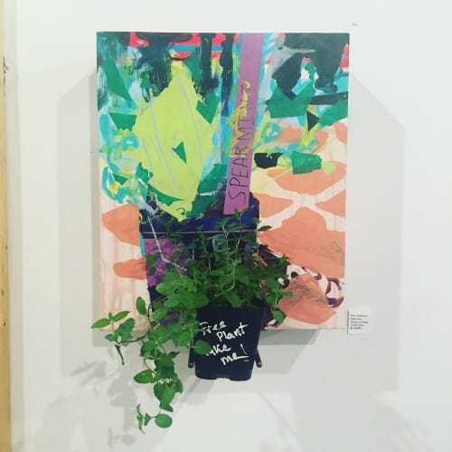 Paintings by Miro Hoffmann seen at 912 Julia St, New Orleans - Paintings with free plants