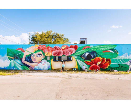 Street Murals by Yuhmi Collective seen at Little Haiti Soccer Park, Miami - L'union Fait La Force