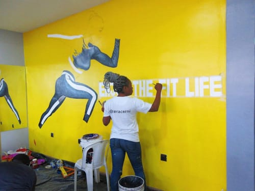 Murals by Cera Cerni seen at Fitness Plus, Lagos - ENJOY THE FIT LIFE Mural
